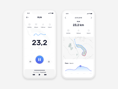 Run app concept blue ui ux concept iphone x sport daily challange table chart map exercise app workout run