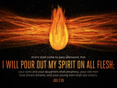 Joel 2:28 verse scripture flame fire typography texture spirit paint