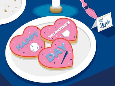 Happy Valentine's Day - KC Royals love valentinesday valentines cookies kcmo kansascity royals mlb baseball vector design illustration