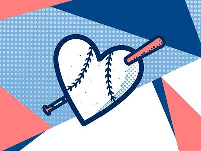 Ballentines Day mlb heart love baseball logo adobe design illustration