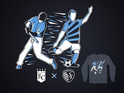 Royals x Sporting KC Longsleeve Tee sports branding kc kansascity soccer baseball mls mlb vector design illustration