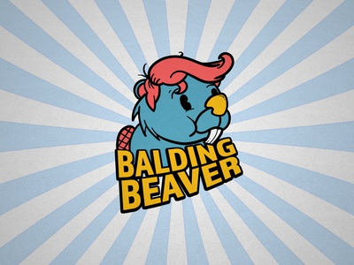 Balding Beaver Color photoshop branding adobe logo design illustration