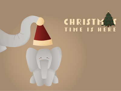 Santa Elephant 🎄 graphic design art website web vector minimal illustrator illustration flat design