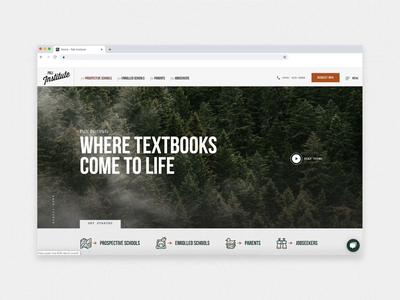 Pali Institute –Homepage 829 school nature website web design homepage navigation nature website design website ui adventure outdoor education education outdoor