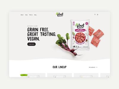 Plant Snacks 829 studios product profile product homepage vegan snacks food shopping store uiux ux ui website ecommerce website ecommerce