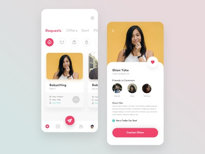 Trade Babysitting App clean clean ui ui  ux homepage user page user profile page profile mobile app design mobile modern minimal baby nanny care babysitting babysitter