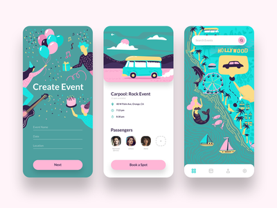 App for Organizing Custom Events holliday design event app doodles mermaid ux ui mobile app music passengers location car map carpool illustration party