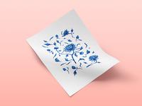 Chinese Porcelain Print Pattern  blue flowers pattern print