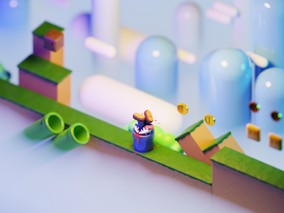 Game Over #1 game art mario bros nintendo mario game design modeling character cartoon low poly cycles 3d art illustration blender3d