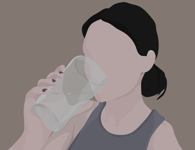 don't forget to hydrate pastel drink water hydration woman girl ui web vector illustrator art app minimal illustration flat design