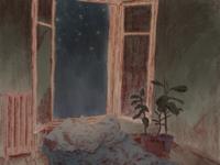 everything tires me green starry night starry sky bedroom bed plants procreate blue nightsky ui web vector illustrator art app minimal illustration flat design