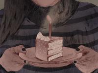 I hate my birthday pastel birthday cake birthday procreate girl web vector illustrator art app minimal flat illustration design