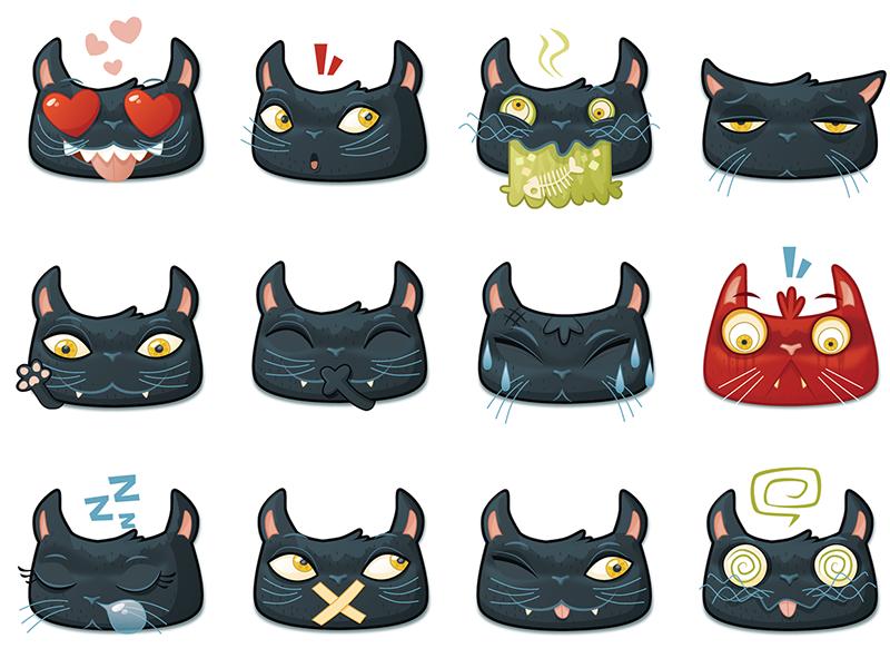 Black Cat Emojis by William Dalebout - Dribbble