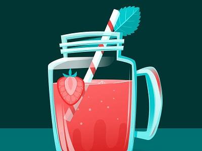 Vector Speedpaint mint straw tea jar strawberry