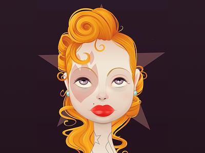 Matchstick purple yellow orange babe girl pinup punk retro vintage rockabilly