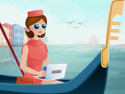 Datapixy in Venice vector illustrator illustration venice gondola chanel jackie kennedy pink hat