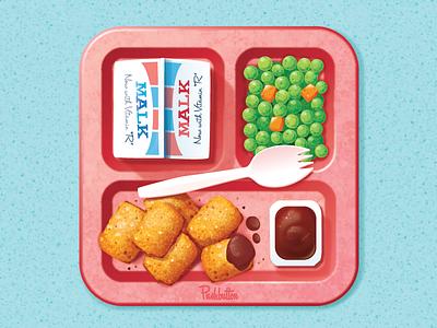 Hot Lunch vector illustration retro vintage ios iphone ipad icon peas carrots tater tots malk ketchup spork