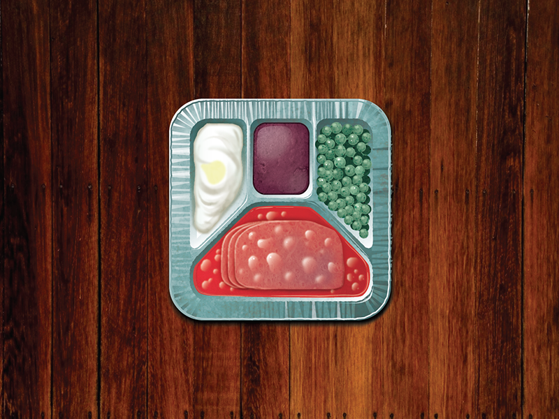 1960s TV Dinner vector illustration retro vintage ios iphone ipad icon peas cake meat potatoes