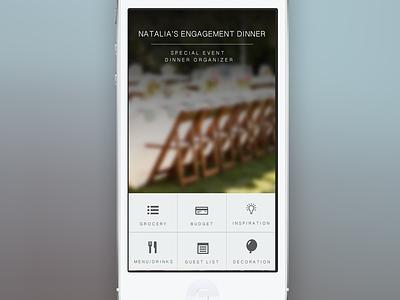Dinner Planner/Organizer Mobile App grid ios psd mobile app organizer blur icons simple flat design navigation