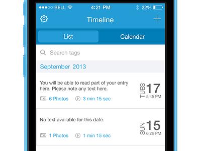 Timeline List View Journal App progress date scroll iphone search timeline list calendar ios 7 flat mobile journal