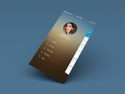 Journal App Side Menu hamburger warm gradient menu ios7 blur icons mobile ux ui iphone list