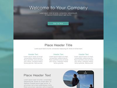 Flat Web Design Template features ui layout flat web magnify blur retina ux iphone minimal button