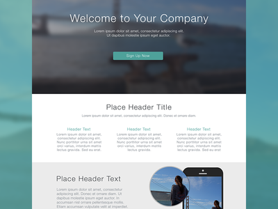 Flat Web Design Template features ui layout flat web magnify blur retina ux iphone minimal button