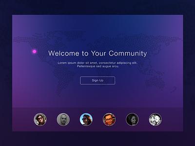 Flat Web Landing Page map location marker overlay blur minimal social world ui web simple flat