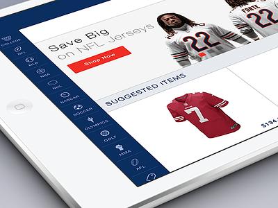 iPad eCommerce App Menu menu icons ecommerce ui ux flat sport ipad tablet app navigation ios