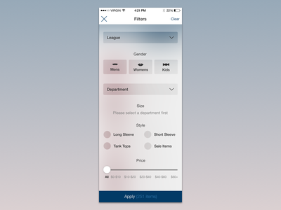 iOS Filtering filtering styles ui options ecommerce overlay ios filtering