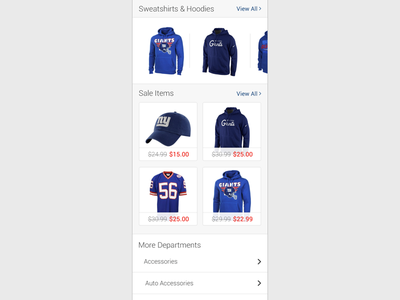 Ecommerce Landing Page ux ui departments sale shopping ecommerce grid list mobile touch cards carousel