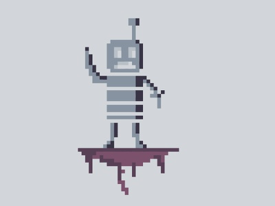 Robot in Ruins pixel art pixelart