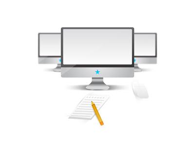 Work Desk macbook mac illustration vector illustrator pencil pad notepad mouse magic mouse monitor