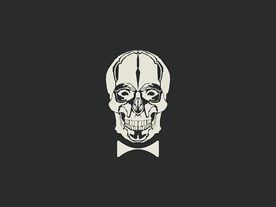Mr Brainless vector illustration skull bone white minimal