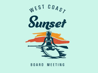 Sunset Board Meeting open water surf water surf and skate paddleboarding outdoor design tshirt graphics clean