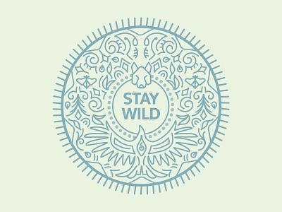 Stay Wild Radial Outdoor Design retail design merchandise monoline branding apparel outdoor designer outdoors premium clean logo design