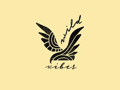 Wild Vibes Black and White merchandise design apparel graphic branding design hand-drawn vector bird design hawk wild bird wild vibes outdoor outdoor assets outdoor industry logo designer logo design