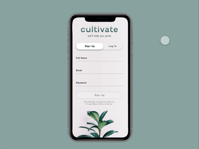 Plant App Sign In Form animation website web app ux ui design illustration
