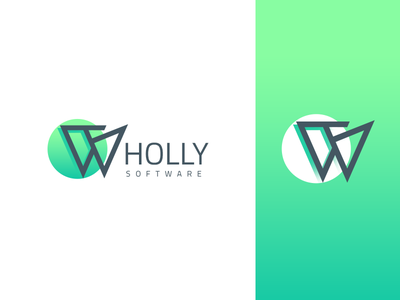 Wholly Software green creative creation company software w logo design logo
