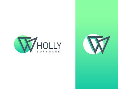 Wholly Software green creative creation company software w logo design logo