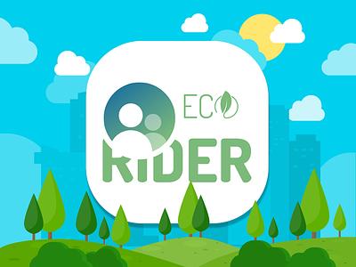 EcoRider - Mobile App Icon company vector brand and identity creative illustration app concept app carpol ride rider eco app ui app icon