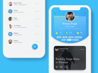 Skili App - Profile & Chat Screen UI Designs ux ui design ui concept creative ui application design ui app chat screen profile screen