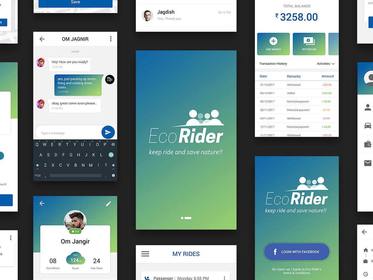 Ecorider Carpool App Ui By Rcan Design Studio On Dribbble