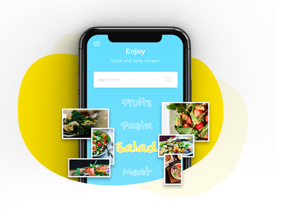 Recipe Book app ui ui app icon uiuxdesigner uiinspiration homescreenui illustration uikits fruits salad pasta creative ui ux design ui ux uidesign food food app recipe