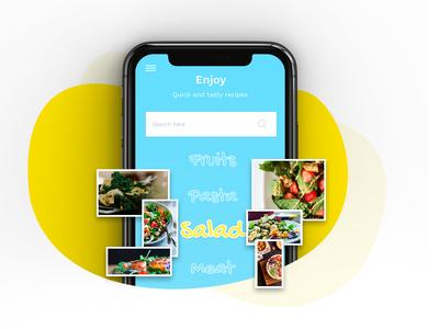 Recipe Book app ui ui app icon uiuxdesigner uiinspiration homescreenui illustration uikits fruits salad pasta creative ui ux design ui ux uidesign food food app recipe