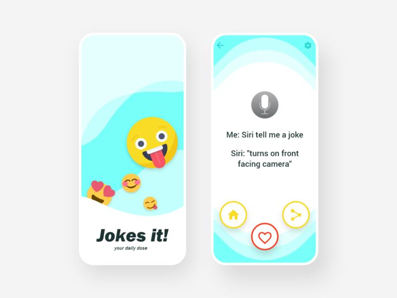 Jokes - App UI Design yellow smiley emoji appuidesign like share app design graphicdesign uidesign appui app jokes