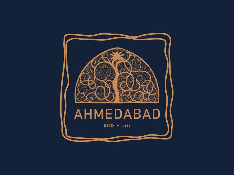Ahmedabad creative design warm-up sticker city heritage india gujarat ahmedabad