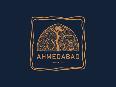 Ahmedabad creative design warm-up sticker city heritage india gujarat ahmedabad