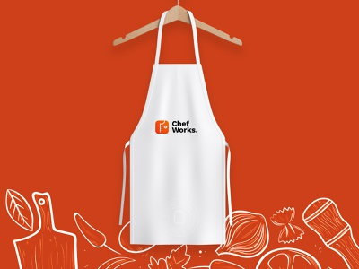 Apron mockup for chefworks. app ui logo design brand and identity app icon creative mockups design graphics hotels restaurant illustraion brand works chef mockup apron