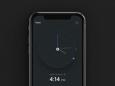 Minimalist Clock App - UI Kit uidesign quick stopwatch alaram mode theme forfree uikit free blue appui app clock dark darkui ui minimalism minimalist minimal